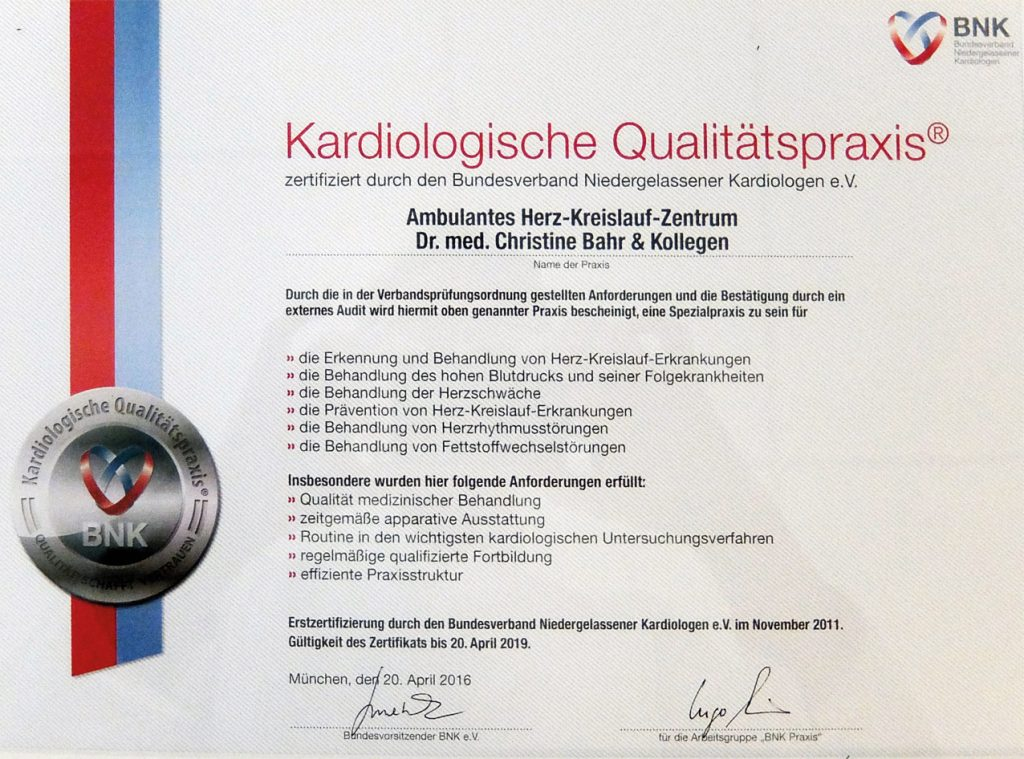 Zertifikat Kardiologische Qualitätspraxis