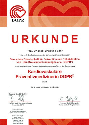 Urkunde Kardiavaskuäre Präventivmedizinerin DGPR ®
